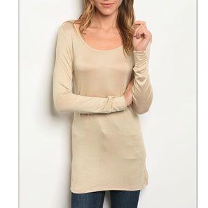 Beige khaki scoop neck long sleeve tunic t-shirt